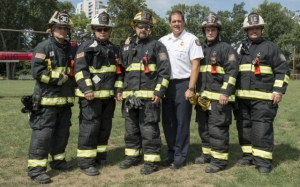 L to R:  FF/Medic Jacob Stenger, Capt. Chuck Enzweiler, Lt/Medic Brent Schafer, Chief Mike Auteri, FF/Medic Nick Scott, Capt. Adam Hall