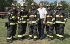L to R:  FF/Medic Jacob Stenger, Capt. Chuck Enzweiler, Lt/Medic Brent Schafer, Chief Mike Auteri, FF/Medic Nick Scott, Capt. Adam Hall